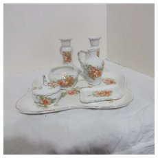 8 Piece Ceramic Vanity Set Orange Roses Decoration