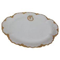 "Haviland of France White with Gold Platter Haviland H526 or RansonPattern ""G"" Initial"