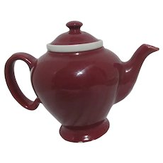 Hall McCormick Burgundy Colored Tea Pot with Infuser