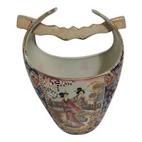 Japanese Style Moriage Ceramic Bucket with Hand Painted Highlights