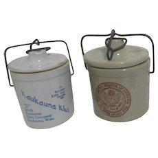 Set of 2 Locking Cheese Crocks Kaukauna Klut and Seal of U.S.
