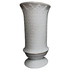 White Lenox Vase Sheaf/Leaves Embossed Gold Trim