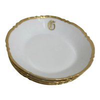 "Haviland Pattern H526 Gold Trimmed Soup Bowls with Monogrammed ""G"""