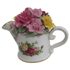 Royal Albert Old Country Roses Watering Can with Flowers Music Box