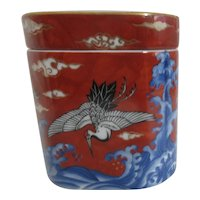 Takahishi Square Lidded Ceramic Box with Ocean Waves and Crane