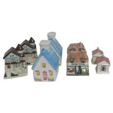4 Sets Salt & Pepper Shakers Suburban Buildings