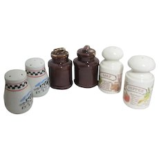 3 Sets of Salt & Pepper Shakers Country Motif