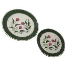 """2 Stangl Pottery Chop Plates Thistle Pattern 12"""" & 14"""""""