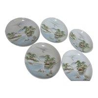 Set of 5 Saucer/Small Dessert Plate with Serene Asian Scene