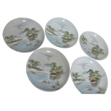 Set of 5 Saucer/Small Dessert Plate with Serene Asian Scene