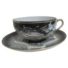 Japanese Moriage Dragon Slipware Cup and Saucer