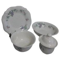 Set of 5 Pfaltzgraff Lidded Sugar, Vegetable Bowl, Cereal Bowl, Luncheon Plate
