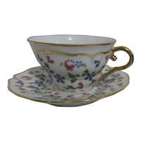 AJCO Limoges France Cup and Saucer with Flowers and Gold Trim