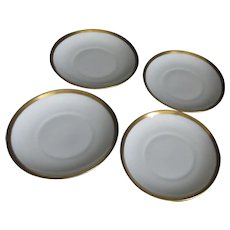 Set of 4 White Saucers with Gold Trim from Silesia