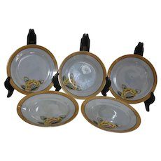 Set of 5 Luster Ware Dessert Plates Floral Accent