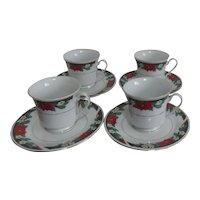 Set of 4 Tienshan Fine China Deck The Hall Cups and Saucers