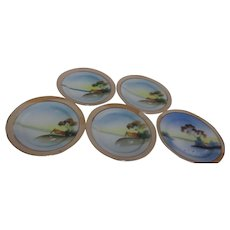 Set of 5 Hand Painted Luster Ware Salad or Large Dessert Plates