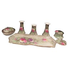 10 Piece Vanity Set Green with Flowers