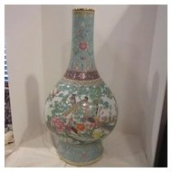 Vintage Porcelain Hand Painted Large Chinese Vase Signed on Bottom