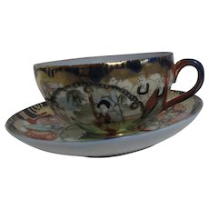 Japanese Cup and Saucer Family Scenes