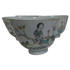 Set of 5 Chinese Teacups   No Handle Style