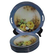 Shofu Lusterware Dessert Set Cake Plate and 5 Dessert Plates