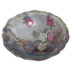 RS Prussia Fruit Bowl with Roses Pattern Beaded Rim