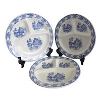 Set of 2 Blue Willow Grill Plates