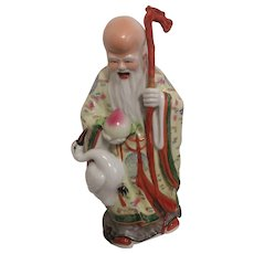 Chinese Shou Xing God of Longevity Porcelain Figurine