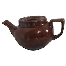 Small Brown Pot Bellied Teapot for One