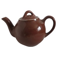 Hall One Cup Brown Teapot with White Rim