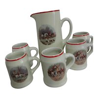 Hall Company Pub Set Pitcher & 5 Beer Mugs with Hunting Scenes