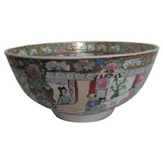 Vintage Chinese Rose Familia Medallion Porcelain Bowl