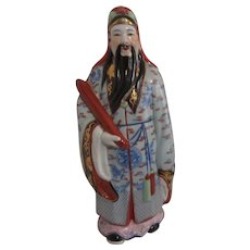 Chinese Ceramic Figurine of Scholar with Scroll