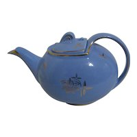 Hall Blue with Gold Trim Mid-Century Teapot