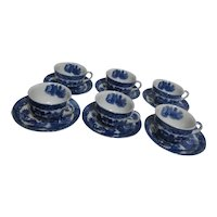 Set of 6 Blue Willow Cups and Saucers