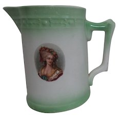 Antique White Stoneware Pitcher with Green Trim & Cameo of Woman