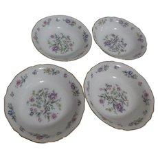 Franconia Krautheim Millefleurs Pattern Set of 4 Berry Bowls/Dessert Bowls