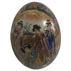 Chinese Satsuma Style Pottery Egg with Geishas