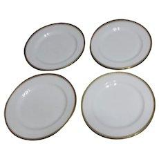 Haviland H4021 Set of 4 Dinner Plates White with Embossed Trim