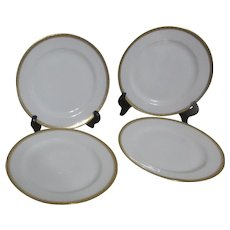 Set of 4 Haviland H4021 Salad Plates White with Gold Embossed Trim