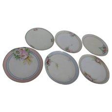 Set of 6 Decorator/Dessert Plates Hand Painted Floral
