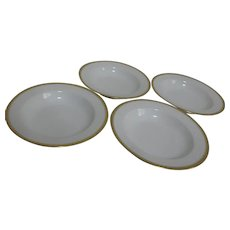 Haviland H4021 Soup Bowls Set of 4 White with Embossed Trim