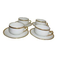 Haviland H4021  Set of 4 Cups and Saucers White with Embossed Trim