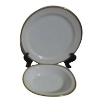 Haviland H4021 Round Platter and Oval Vegetable Bowl White with Embossed Trim
