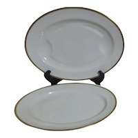 """Haviland H4021  16"""" and 18"""" Platters White with Embossed Trim"""