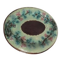 Majolica Oval Platter with Leaves