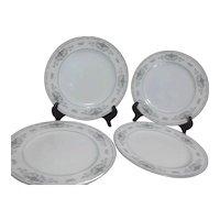 Set of 4 Fine Porcelain Dinner Plates Diane Pattern