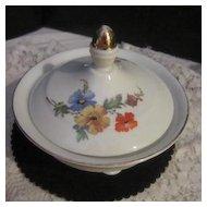 Vintage Porcelain Lidded Sugar Bowl from Bavaria with Flowers