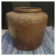 Vintage Primitive Style Heavy Brown Pot